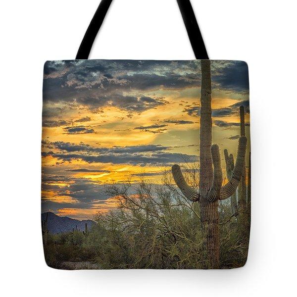 Sunset Approaches - Arizona Sonoran Desert Tote Bag