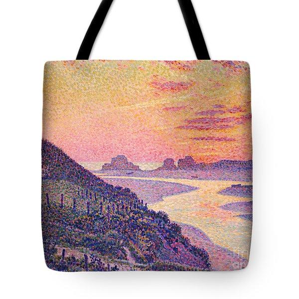 Sunset At Ambleteuse Pas-de-calais Tote Bag by Theo van Rysselberghe