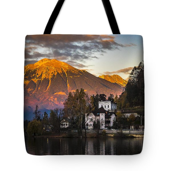 Sunset At Bled Tote Bag