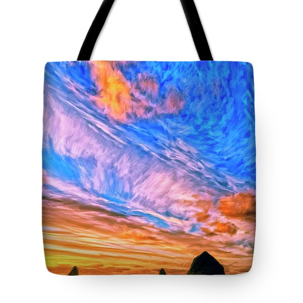Sunset At Cannon Beach Tote Bag