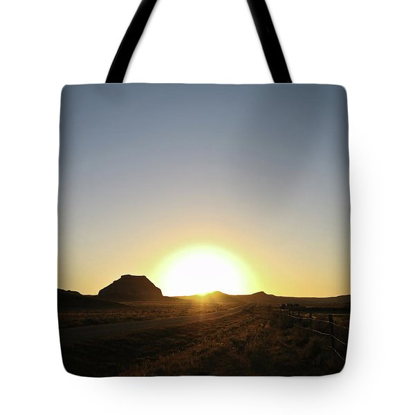 Sunset At Castle Butte Sk Tote Bag