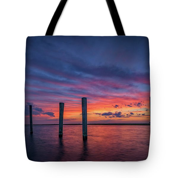 Sunset At Cedar Beach Marina Tote Bag