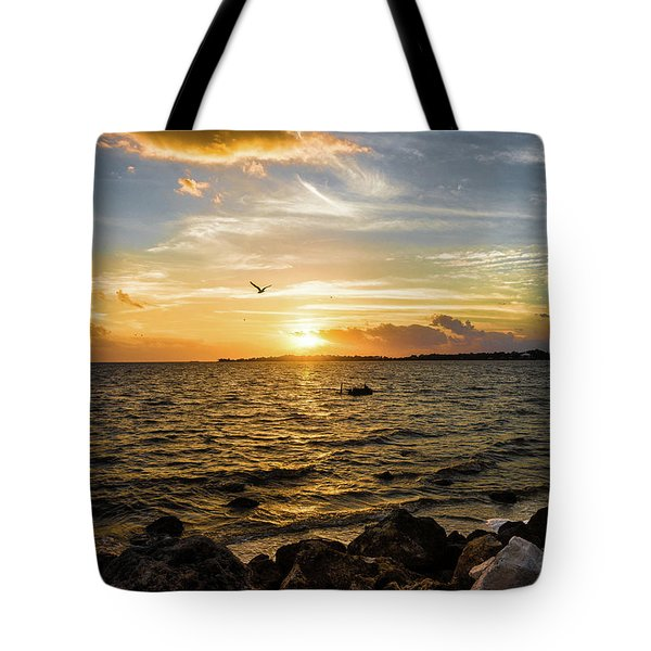 Tote Bag featuring the photograph Sunset At Cedar Key by Rebecca Hiatt
