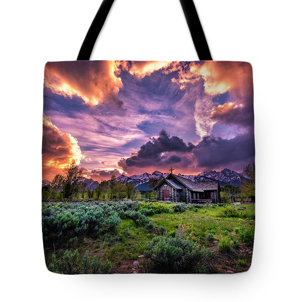 Sunset At Chapel Of Tranquility Tote Bag