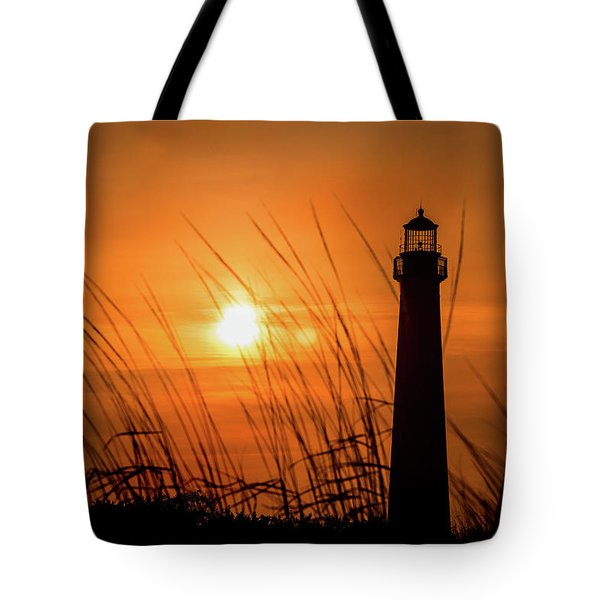 Sunset At Cm Lighthouse Tote Bag