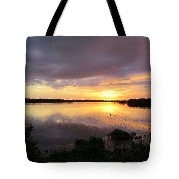 Sunset At Ding Darling Tote Bag by Melinda Saminski