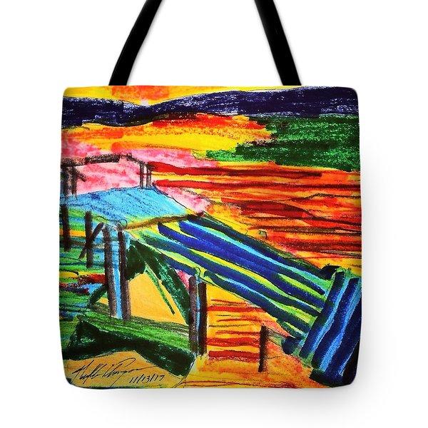 Sunset At Dock Tote Bag