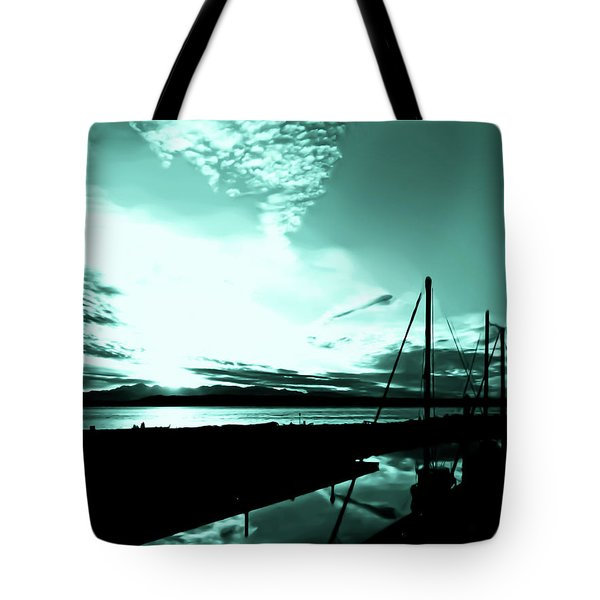 Tote Bag featuring the photograph Sunset At Edmonds Washington Boat Marina 1 by Eddie Eastwood