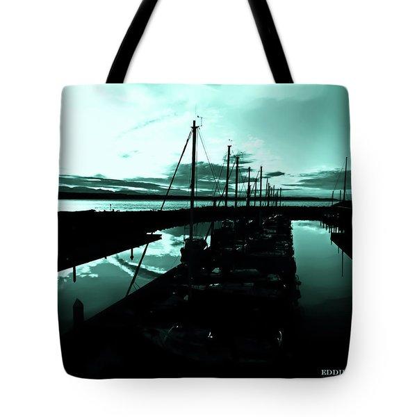 Sunset At Edmonds Washington Boat Marina 2 Tote Bag by Eddie Eastwood