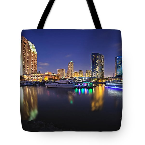 Sunset At Embarcadero Marina Park In San Diego Tote Bag