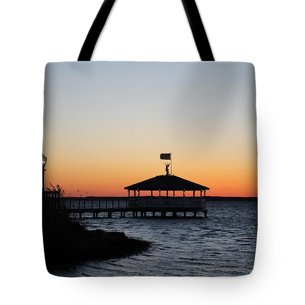 Sunset At Fagers Island Gazebo Tote Bag