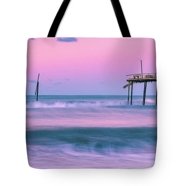 Tote Bag featuring the photograph Sunset At Frisco Fishing Pier Panorama by Ranjay Mitra
