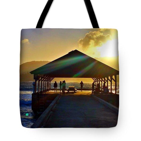Sunset At Hanalei Pier 2 Tote Bag
