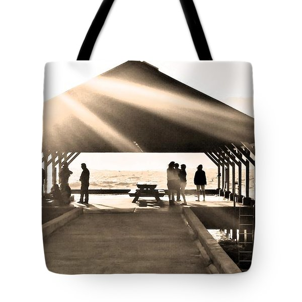 Sunset At Hanalei Pier 3 Sepia Tote Bag