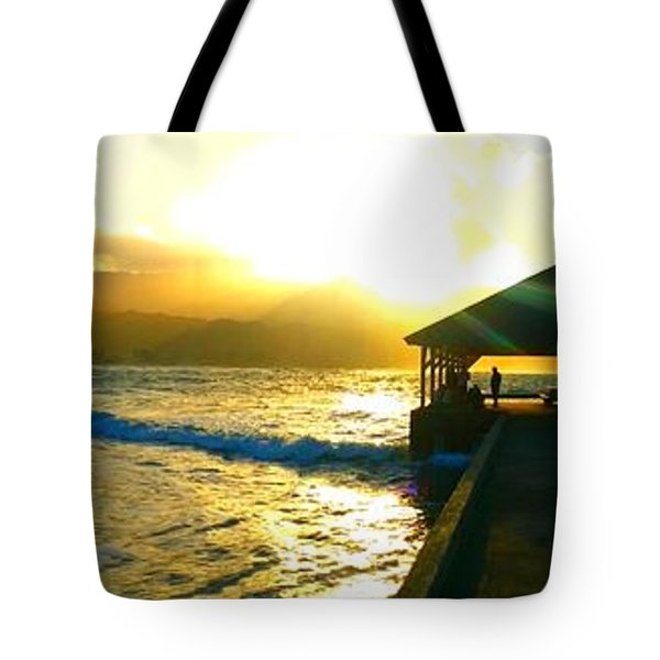 Sunset At Hanalei Pier 4 Tote Bag