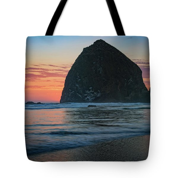Tote Bag featuring the photograph Sunset At Haystack Rock by Rick Berk