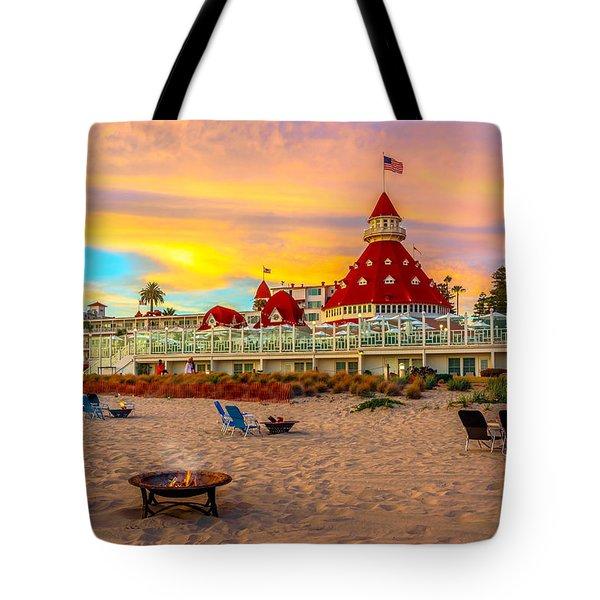 Sunset At Hotel Del Coronado Tote Bag