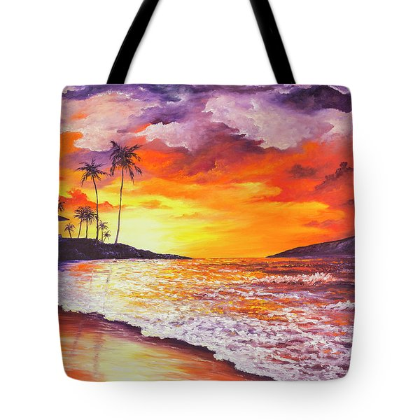 Tote Bag featuring the painting Sunset At Kapalua Bay by Darice Machel McGuire