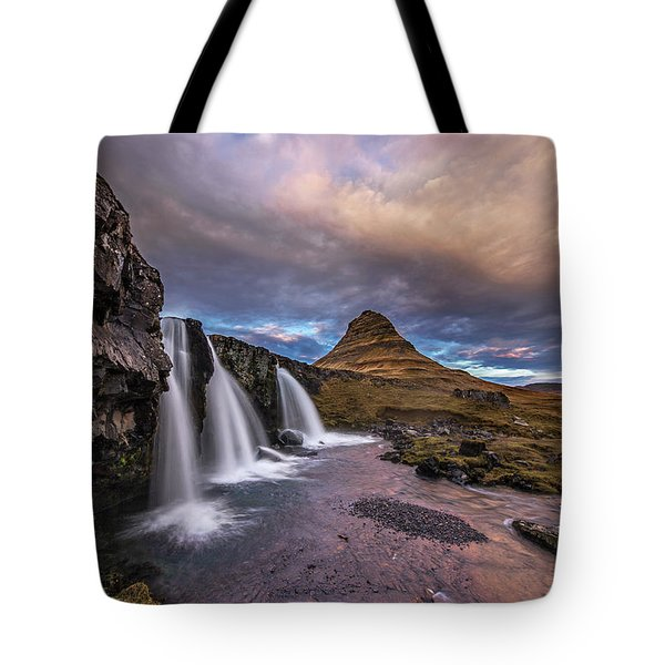 Sunset At Kirkjufellsfoss Tote Bag by Roman Kurywczak