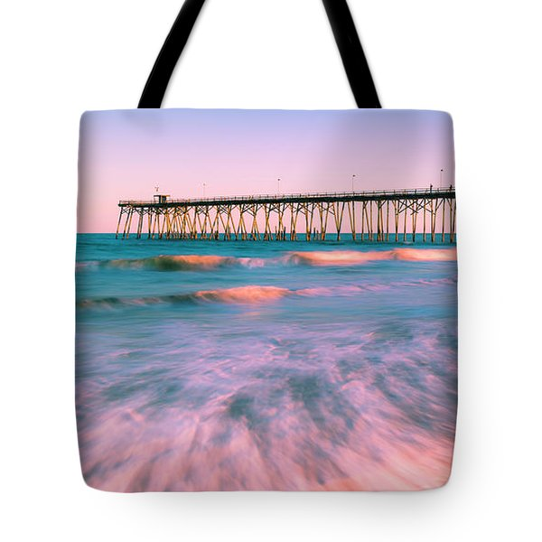 Tote Bag featuring the photograph Sunset At Kure Beach Fishing Pier Panorama by Ranjay Mitra