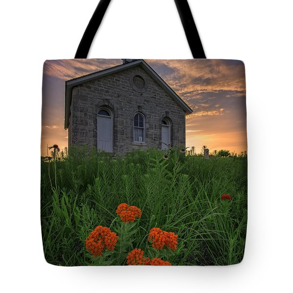 Sunset At Lower Fox Creek Schoolhouse Tote Bag