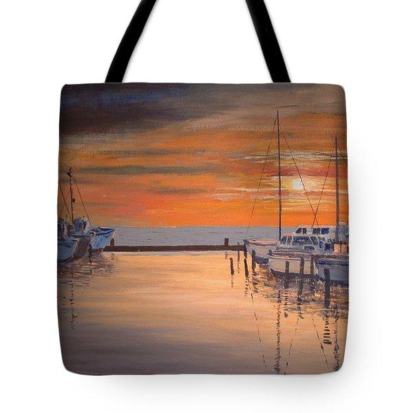 Sunset At Marina Tote Bag