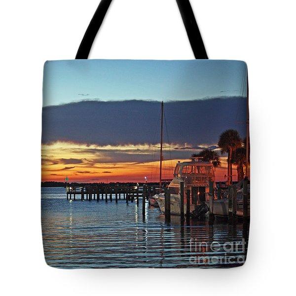 Sunset At Marina Plaza Dunedin Florida Tote Bag