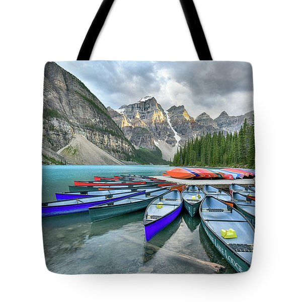 Sunset At Moraine Lake Tote Bag