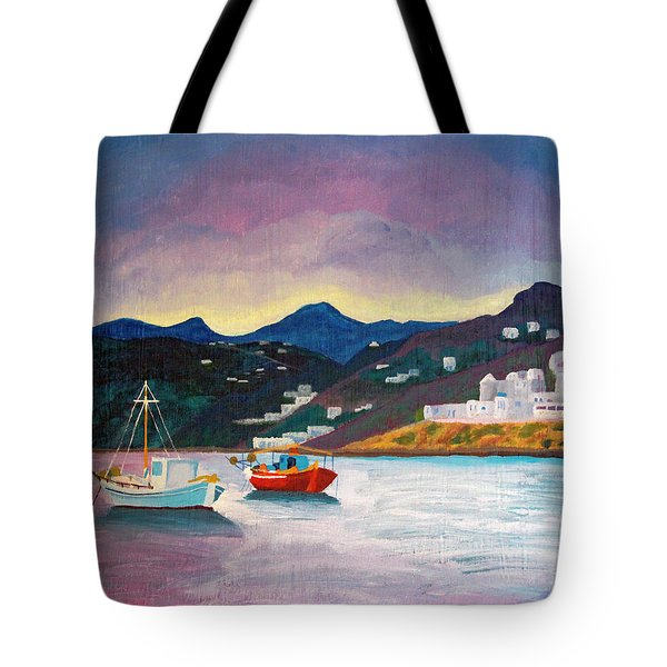 Sunset At Mykonos Tote Bag