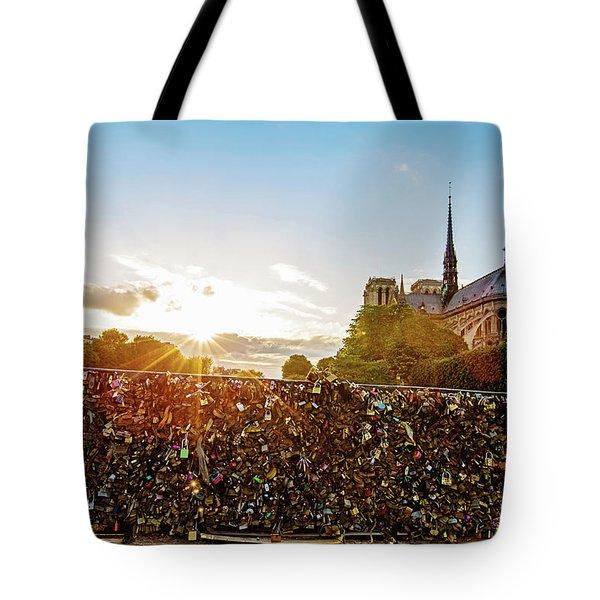 Sunset At Notre Dame De Paris Tote Bag