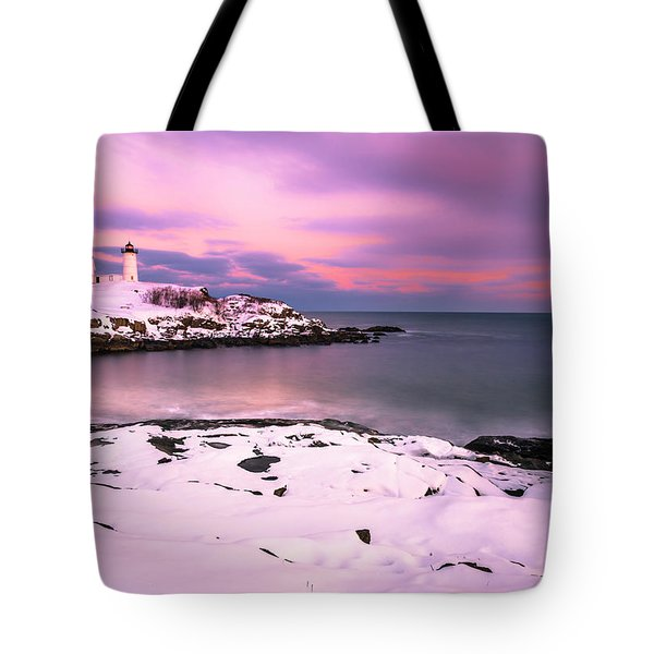 Sunset At Nubble Lighthouse In Maine In Winter Snow Tote Bag