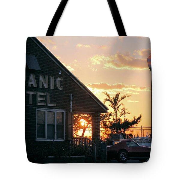 Sunset At Oceanic Motel Tote Bag