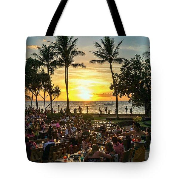 Sunset At Old Lahaina Luau #1 Tote Bag