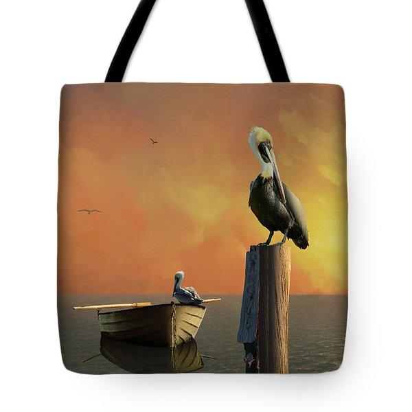 Sunset At Pelican Cove Tote Bag