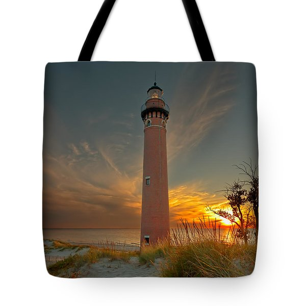 Sunset At Petite Pointe Au Sable Tote Bag