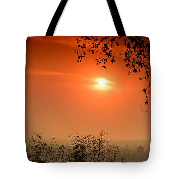 Sunset At Phnom Bakheng Of Angkor Wat Tote Bag