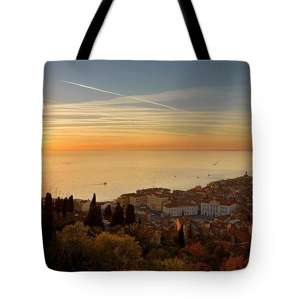 Sunset At Piran Tote Bag