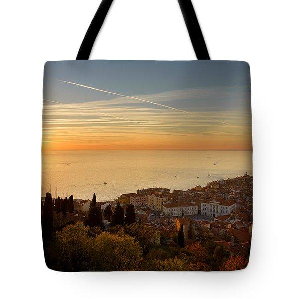Sunset At Piran Tote Bag