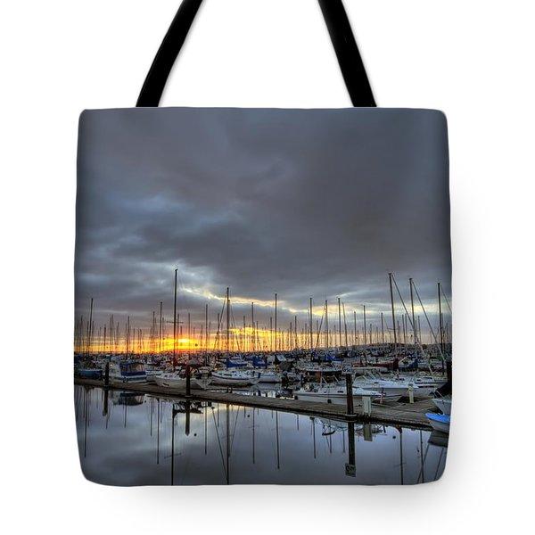 Sunset At Port Gardner Tote Bag