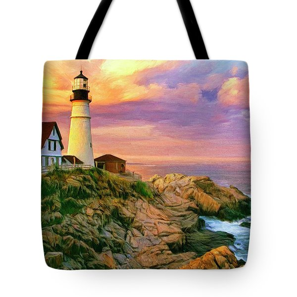 Sunset At Portland Head Tote Bag