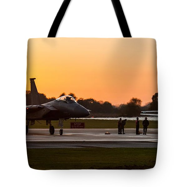 Sunset At Raf Lakenheath Tote Bag by Tim Beach