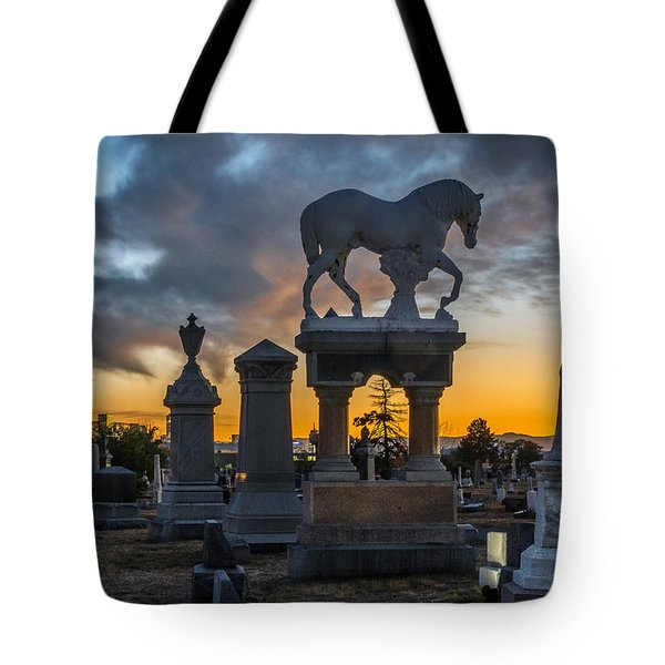 Sunset At Riverside Cemetery Tote Bag