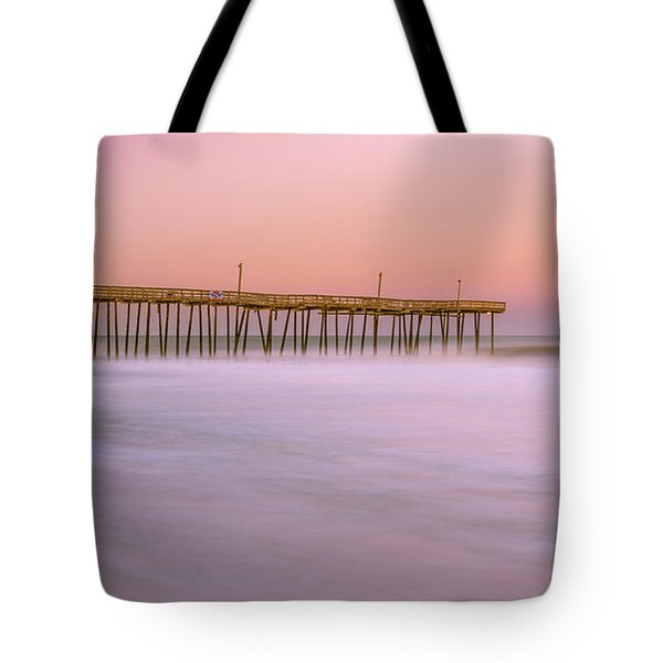 Tote Bag featuring the photograph Sunset At Rodanthe Fishing Pier In Obx Panorama by Ranjay Mitra