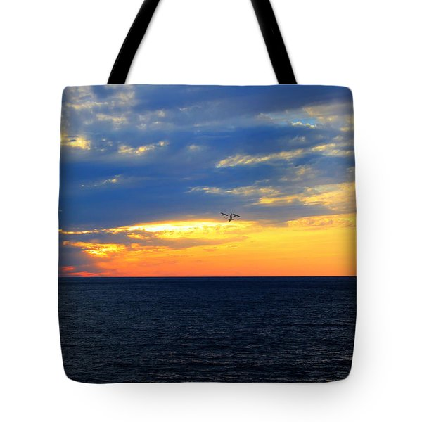Tote Bag featuring the photograph Sunset At Sail Away by Shelley Neff