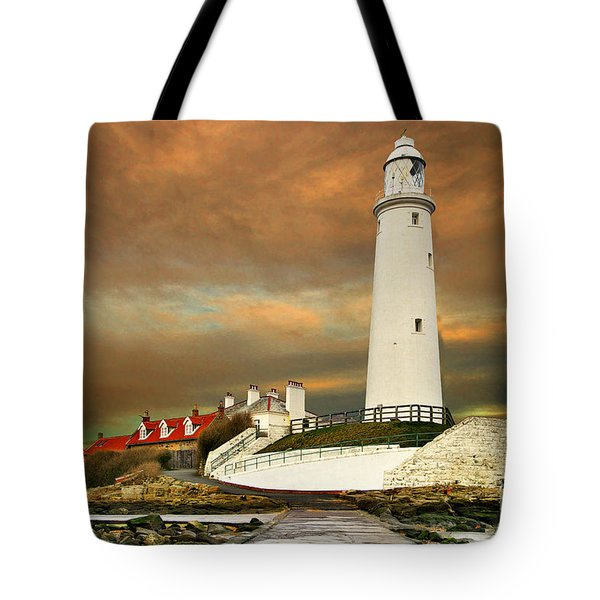 Sunset At Saint Mary's Lighthouse Tote Bag