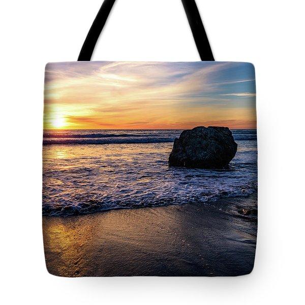 Sunset At San Simeon Beach Tote Bag
