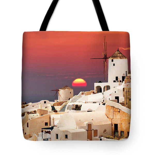 sunset at Santorini Tote Bag
