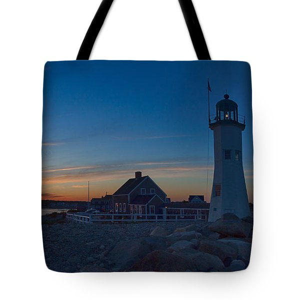 Sunset At Scituate Lighthouse Tote Bag by Jeff Folger