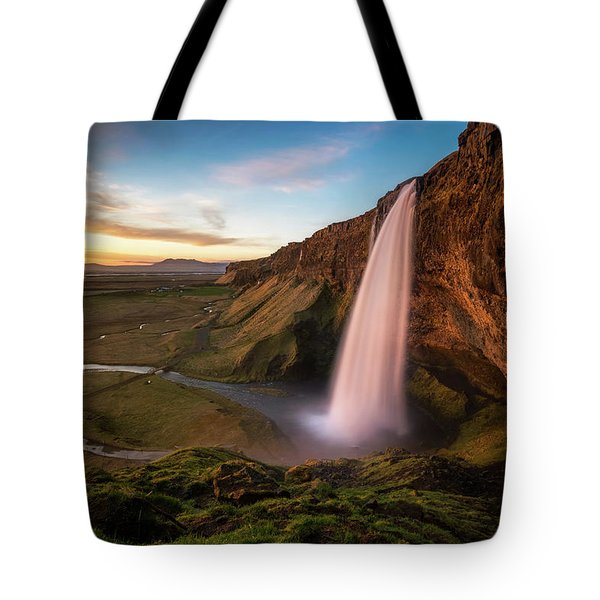 Sunset At Seljalandsfoss Tote Bag