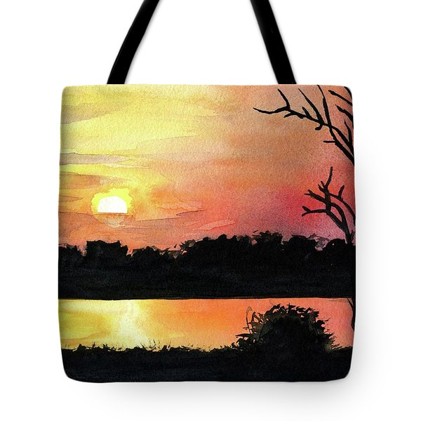 Tote Bag featuring the painting Sunset At Shire River In Malawi by Dora Hathazi Mendes